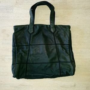 Diesel Bag Black. Leather Patches Sewn onto Canvas